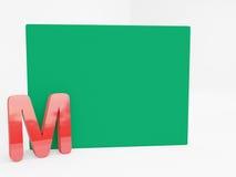Алфавит m с пустым зеленым холстом Стоковые Изображения
