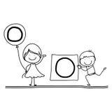 Алфавит o счастья шаржа чертежа руки Стоковое Изображение