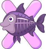Алфавит x с рыбами луча x Стоковая Фотография RF