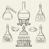 Алхимические сосуды или винтажное оборудование лаборатории бесплатная иллюстрация