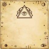 Алхимический чертеж: всевидящее око, профиль персоны Эзотерический, мистический, оккультизм иллюстрация штока