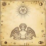 Алхимический чертеж: меньший ангел появляется от воды Эзотерический, мистический, оккультизм иллюстрация штока