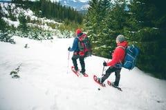 2 альпиниста в горах в зиме Стоковые Изображения