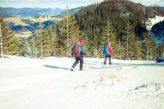 2 альпиниста в горах в зиме Стоковое Изображение