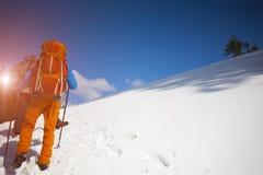 2 альпиниста с рюкзаками Стоковые Изображения