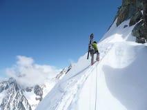 Альпинисты на маленькая Aiguilles Verte Стоковое Изображение RF