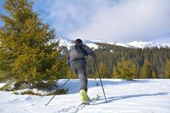 Альпинист лыжи взбираясь гора в солнечном дне стоковые изображения rf