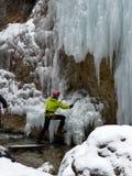 Альпинист льда в Sottoguda Стоковые Фото