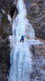Альпинист льда в Sottoguda Стоковая Фотография RF