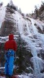 Альпинист льда в Sottoguda Стоковое фото RF