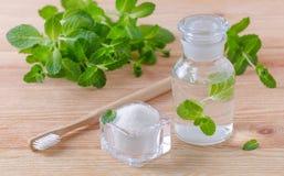 Альтернативная естественная бутылка mouthwash с ксилитом зубной пасты, содой, солью, и деревянным крупным планом зубной щетки, мя Стоковое фото RF