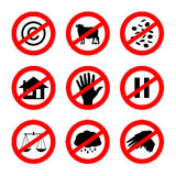 Альтернативные знаки запрета установили 2 Стоковые Изображения