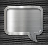 Алюминиевая рамка пузыря речи металла над решеткой Стоковая Фотография RF