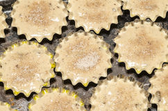Алюминий отливает в форму для печь теста заполненного пирожными и взбрызнутый с сахаром Стоковые Изображения