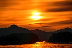 аляскский заход солнца Стоковые Фото