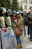 Аntiauthority抗议在哈尔科夫,乌克兰 免版税图库摄影