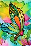Бабочка акварели с орхидеей и листвой стоковая фотография rf