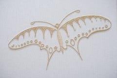 Бабочка вышивки на хлопке Стоковая Фотография RF