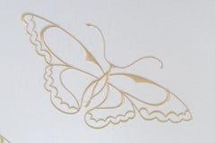 Бабочка вышивки на хлопке Стоковая Фотография
