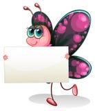 Бабочка держа пустой картон иллюстрация штока