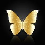 Бабочка золота абстрактная на черной предпосылке Стоковое фото RF