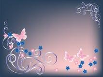 Бабочка и цветки карточки Стоковые Изображения