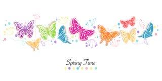 Бабочка и цветки резюмируют предпосылку вектора знамени времени весны Стоковые Фотографии RF