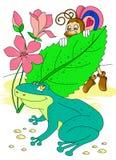 Бабочка и лягушка Стоковые Изображения