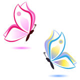 Бабочка, концепция красоты, пинк и синь Стоковое фото RF