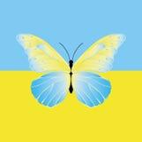 Бабочка на флаге Украины Стоковые Изображения
