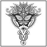 Бабочка на этнических листьях иллюстрация вектора