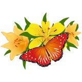 Бабочка на flower-4 Стоковое Изображение RF