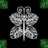 Бабочка от тропических лист на черной предпосылке стоковые фото
