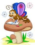 Бабочка рисует в альбоме Стоковое Изображение