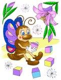 Бабочка сидя около цветка Стоковые Изображения RF
