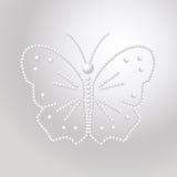Бабочка сделанная из жемчугов, vector картина драгоценных камней Стоковое Изображение