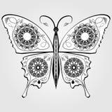 Бабочка с картиной шнурка на крылах, однокрасочным белым и черным каллиграфическим чертежом на серой предпосылке конструкция легк Стоковое фото RF
