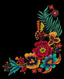 Бабочка с элементами вышивки вектора цветков Стоковая Фотография