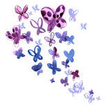Бабочки акварели в голубых цветах Стоковые Фото