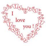 бабочки в сердцах crayons Валентайн сердец s рук женщины 4 дня я тебя люблю Стоковое Фото