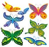 бабочки декоративные иллюстрация вектора
