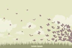 Бабочки летания на зеленом ландшафте бесплатная иллюстрация