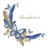 Бабочки и пер акварели Круглая рамка, карточка Стоковое Фото