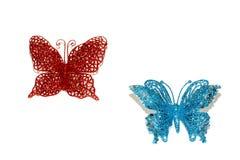 2 бабочки на белой предпосылке Стоковые Фотографии RF