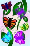 Бабочки на листьях весны Стоковые Фото
