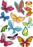 бабочки покрасили различным Стоковое Изображение