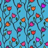 бабочки предпосылки фона doodle флористический пинк картины цветка безшовный Стоковое фото RF