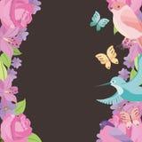 Бабочки птиц роз рамки цветка вводят предпосылку в моду традиционную Стоковое Изображение