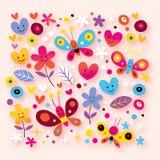 Бабочки, сердца & цветки Стоковая Фотография