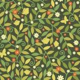 Бабочки среди картины ветвей безшовной Стоковое Изображение RF